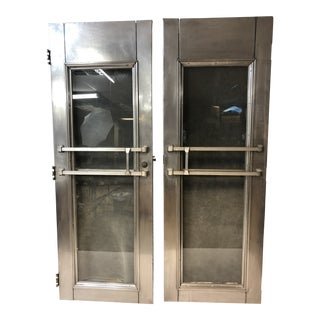 Vintage Industrial Stainless Steel Doors - a Pair For Sale