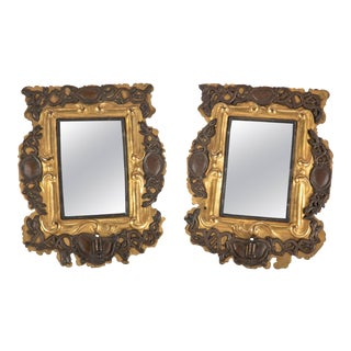 Pair of 18th Century Baltic Gilt Brass and Silver Mirror Sconces For Sale