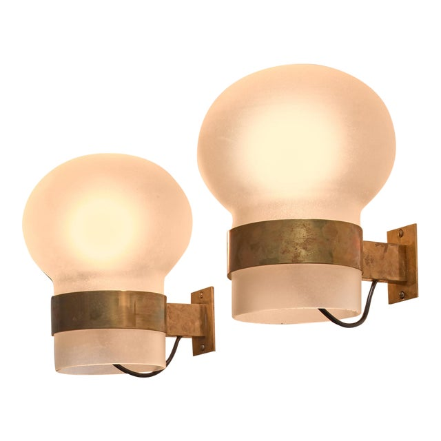 Fontana Arte Pair of Wall Sconces, Frosted Glass Shades with Brass, Italy, 1960s - Image 1 of 3