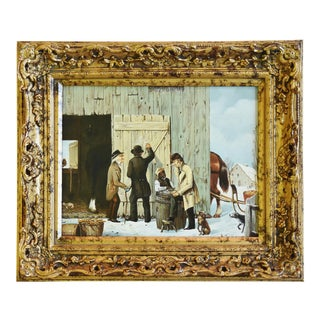 Vintage European Oil Painting of Farmers, Dogs & Barnyard Animals For Sale