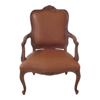 1990s Vintage Ethan Allen French Louis XV Style Leather Arm Chair For Sale