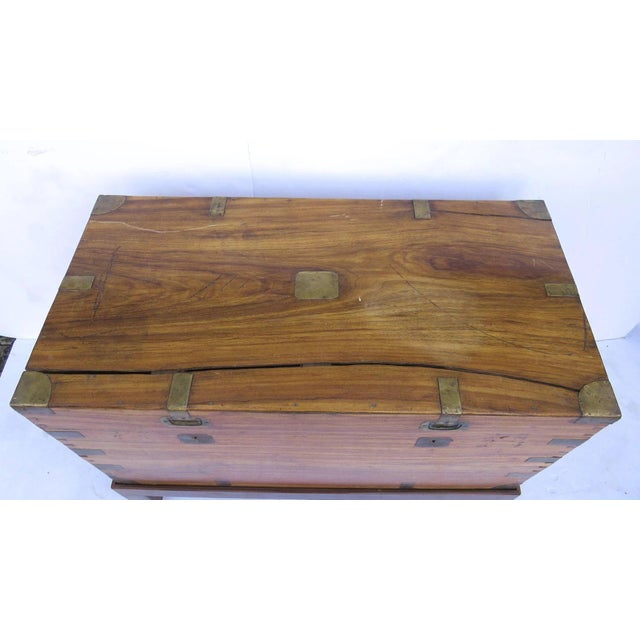 Metal Early 19th Century Camphor Wood Campaign Chest on Stand For Sale - Image 7 of 9