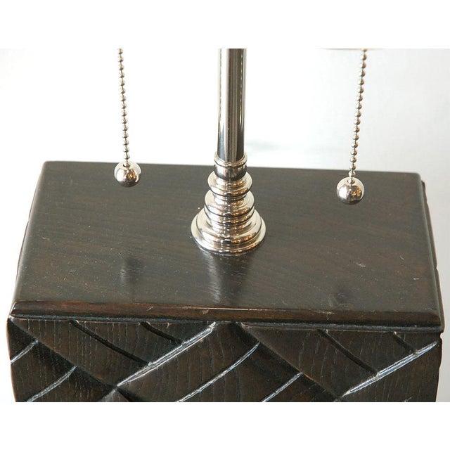 Basket Weave Wood Table Lamp - Image 5 of 7