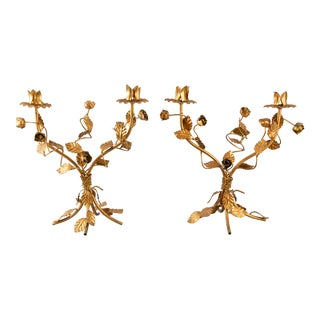 Italian Florentine Tole Gilt Candelabras - a Pair For Sale
