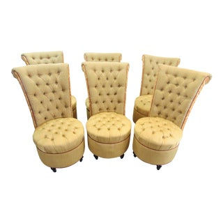 Custom Designed Gold Tufted Dining Chairs - Set of 6 For Sale