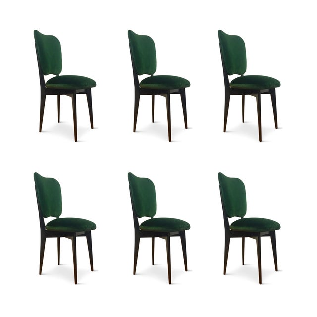 1960s Mid-Century Modern Green Upholstered Dining Chairs - Set of 6 For Sale In Philadelphia - Image 6 of 8