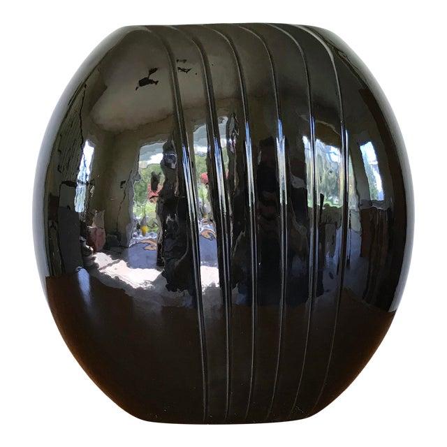 1980's Vintage Black Vase For Sale