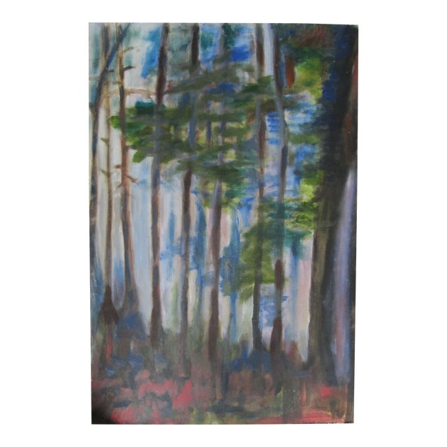 Impressionist Acrylic Painting of Redwoods For Sale