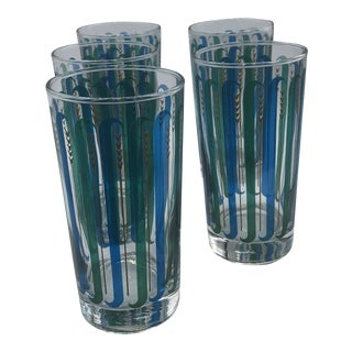 1960s Libbey Retro Blue Green Gold Glasses - Set of 5 For Sale