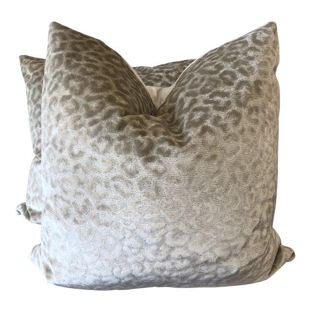 """Kravet """"Divina"""" Velvet in Natural 22"""" Pillows-A Pair For Sale"""
