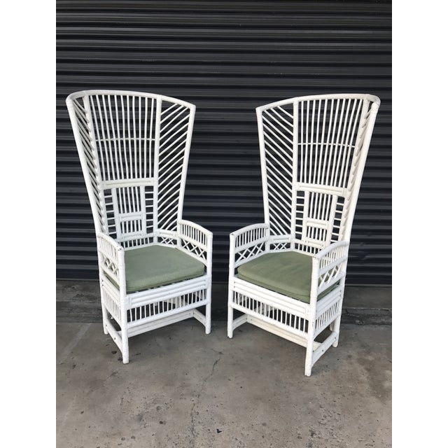 Vintage Rattan High Back Chairs - a Pair - Image 3 of 11