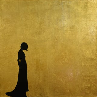 """""""Harpers Bazaar III"""" Contemporary Minimalist Figurative Acrylic and Gold Leaf Painting For Sale"""