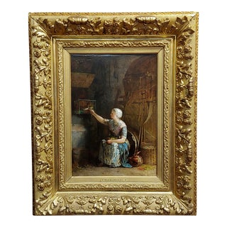 Mid 19th Century Antique Jacobus Burgers Dutch Girl Feeding Her Birds Oil Painting For Sale