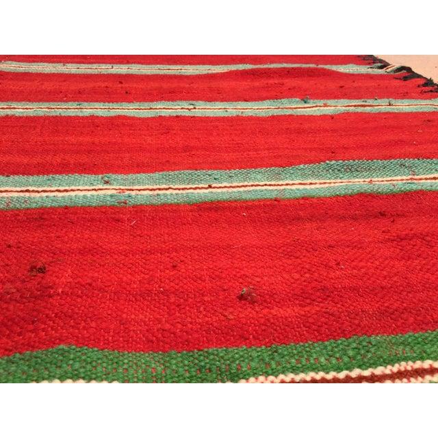 Moroccan Vintage Flat-Weave Rug For Sale - Image 4 of 9