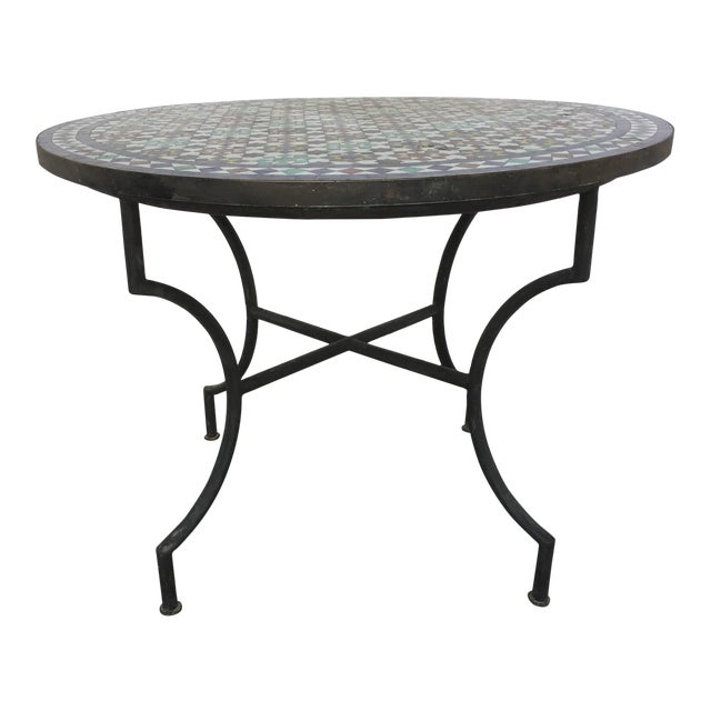 Moroccan Round Mosaic Tile Outdoor Table in Moorish Fez Design For Sale