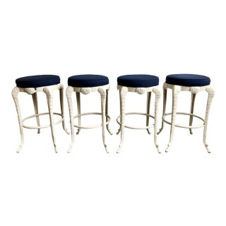 Late 20th Century Vintage Grotto Style Aluminum Barstools - Set of 4 For Sale