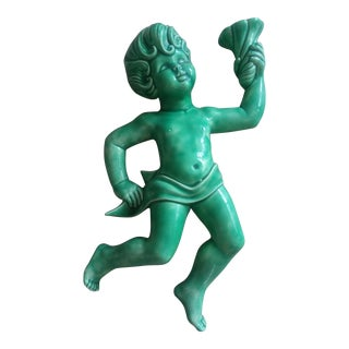 Mid-Century Modern Green Porcelain Large Cherub Wall Decor For Sale