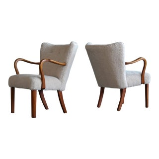 Pair of Fritz Hansen Attributed Danish Easy Chairs Covered in Lambswool 1950 For Sale