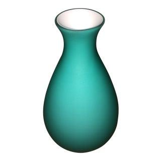 1990s Aqua Murano Glass Vase For Sale