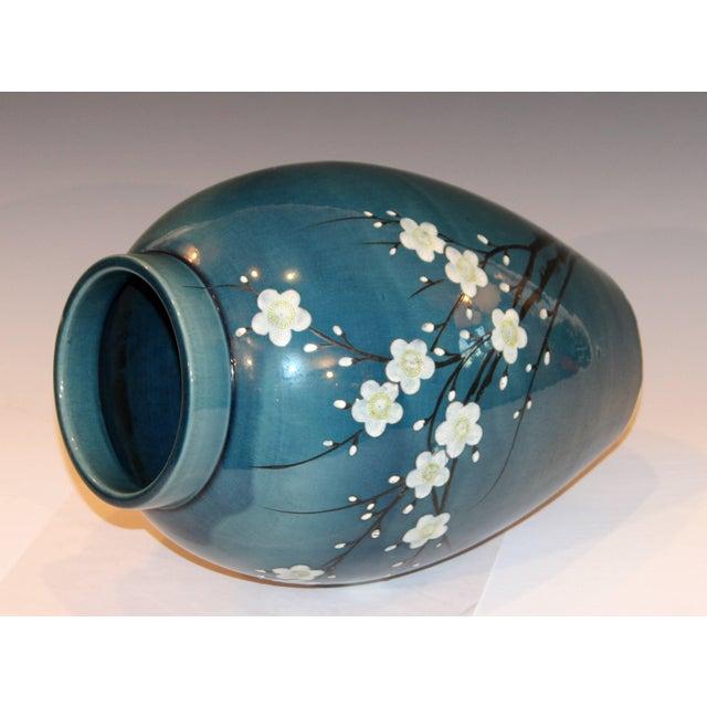 Antique Awaji Pottery Japanese Prunus Cherry Blossom Signed Ikebana Flower Vase For Sale - Image 4 of 10