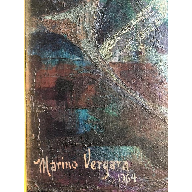 """Abstract 1960s Vintage Marino Vergara """"Capricho Onirico"""" Abstract Signed Cubist Painting For Sale - Image 3 of 10"""
