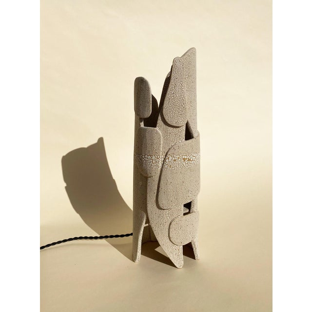 Contemporary Modern Mat White Sculptural Ceramic Lamp For Sale - Image 3 of 6