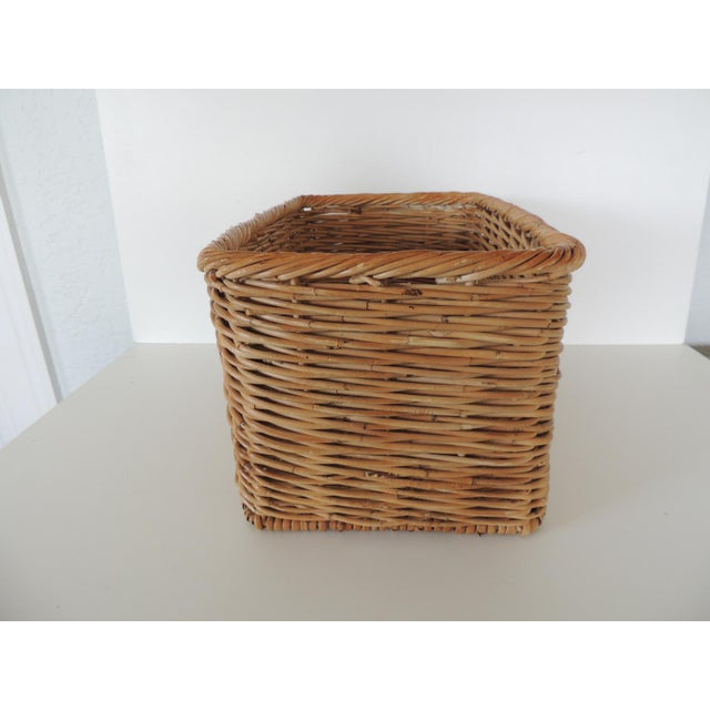 1990s Vintage Woven Rattan Magazine or Storage Basket For Sale - Image 5 of 6