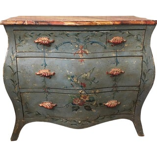 Vintage Italian Bombe Painted Commode