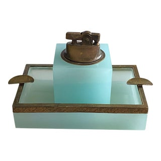 19th Century French Blue Opaline Ashtray & Lighter Smoking Set- 2 Pieces For Sale