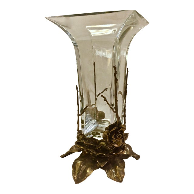 Crystal & Carved Brass Vase - Image 1 of 5
