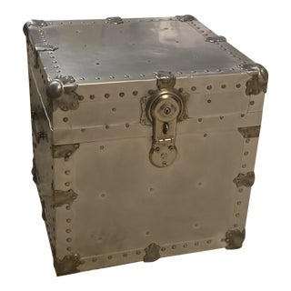 Vintage Aluminium & Brass Trunk For Sale
