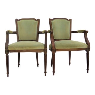 Antique French Fauteuil Side Chairs - a Pair