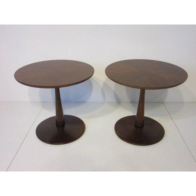 Contemporary Kipp Stewart for Drexel Declaration Walnut Pedestal Side Tables For Sale - Image 3 of 7