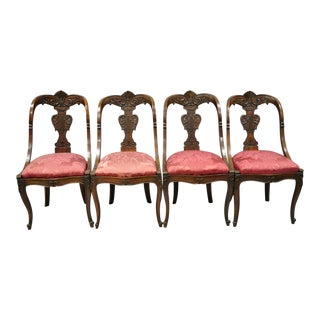 English Regency Carved Mahogany Curved Back Dining Side Chairs - Set of 4 For Sale