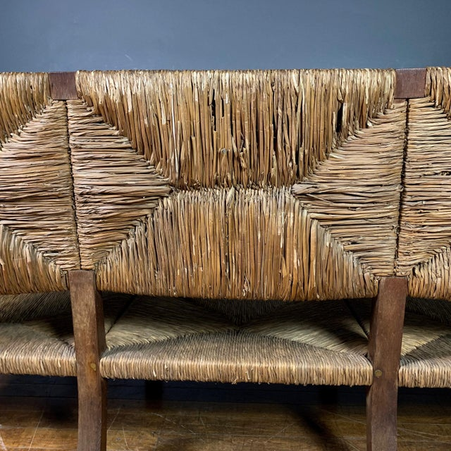 Large 1940s Continental Woven Rush 3-Seat Settee For Sale - Image 10 of 13