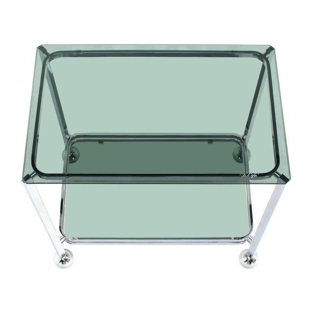 Chrome Tinted Smoked Glass Rolling Tea Cart With Concealed Wheels For Sale - Image 4 of 7