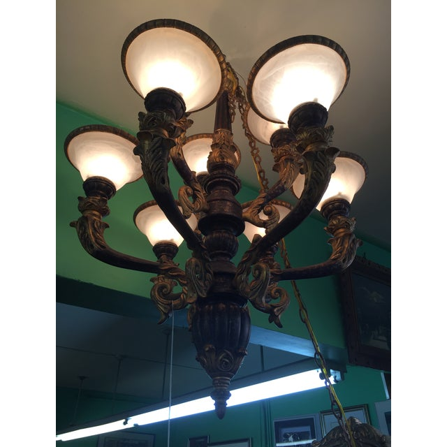 Italian Baroque Chandelier With Alabaster Shades - Image 4 of 11