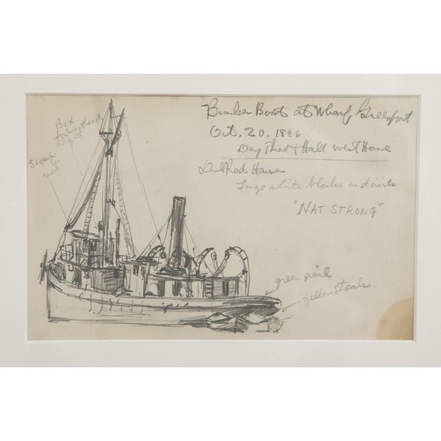 Two groups of Reynolds Beal pencil sketches showing three views of sail boats and three views of fishing boats, including...