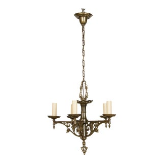 Antique Brass Tudor Chandelier For Sale
