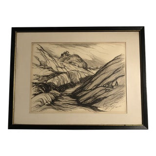 Original Vintage California Landscape Etching by Roi Partridge 1950's Listed For Sale
