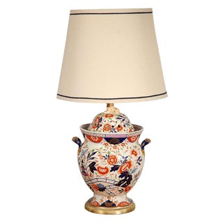 Antique English Imari Vessel as a Table Lamp For Sale