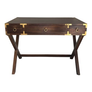 Modern Brown Wood Campaign Gold Writing Desk For Sale
