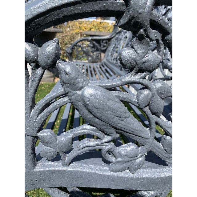 Mid 19th Century Antique French Black Iron Bench With Birds and Nymph For Sale - Image 5 of 13
