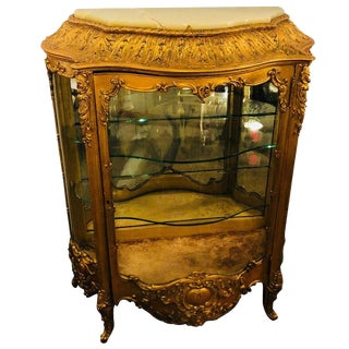 19th Century Giltwood Louis XV Carved Lighted Curio Vitrine Showcase Cabinet For Sale