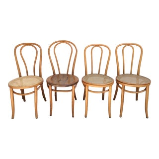 Vintage Thonet Style Bentwood Bistro Chairs - Set of 4 For Sale