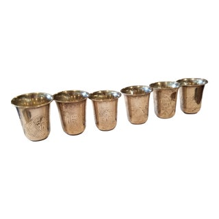 Six Russian Sterling Silver Shot Glasses For Sale