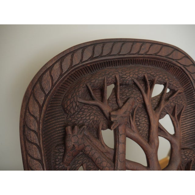 Mid 20th Century 20th Century African Mahogany Bantu Carved Tribal Chief Chairs - a Pair For Sale - Image 5 of 10