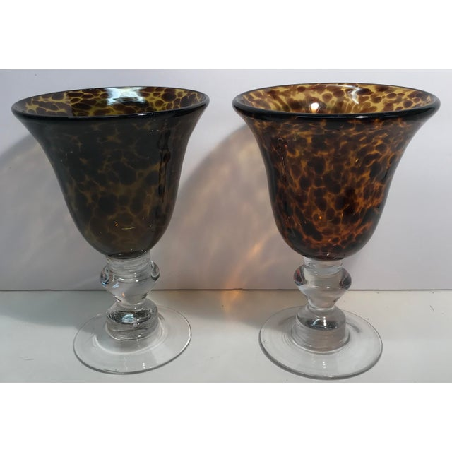 Vintage Hand Blown Leopard Print Glass Goblets - a Pair For Sale - Image 4 of 4