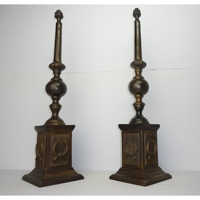 Oversized Bronze Neoclassical Finials - A Pair - Image 4 of 8