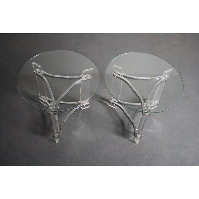 Charles Hollis Jones Charles Hollis Jones Lucite End Tables - Pair For Sale - Image 4 of 8
